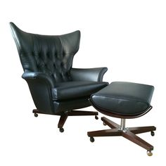 Black Leather Vintage G Plan 6250 Wing Chair