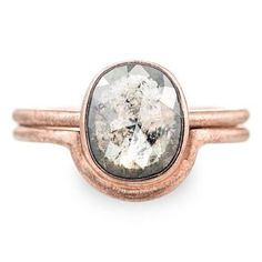 Grey Natural Diamond Engagement Ring, 14k Rose GoldThis ring features an amazing sparkly, rose cut diamond. The diamond is a natural grey diamond. The setting is a low profile bezel setting. This diamond has been cut and faceted complet...