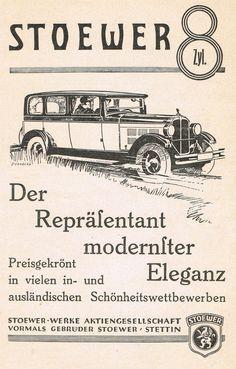 Stoewer Werke Stettin * Automobil 8 Zylinder Oldtimer * Reklame 1928 Anzeige /24 | eBay