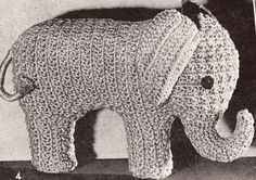 Elephant Stuffed Animal Toy Crochet Pattern Vintage 2 CrochetElephant2, $6.99
