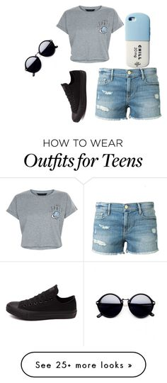 """Untitled #146"" by jmaq22 on Polyvore featuring New Look, Frame Denim, Converse and Valfré"