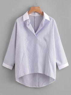 Модная асимметричная блуза в полоску