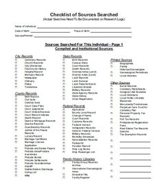 FREE Genealogy Research Sources Checklist to Break Down Brick Walls A checklist for sources searched pg 1 of 2 - original author unknown Genealogy Forms, Genealogy Search, Genealogy Sites, Genealogy Chart, Family Genealogy, Genealogy Humor, Family Tree Research, Family Tree Chart, Family Trees