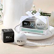 """Mr. & Mrs."" Ceramic Salt & Pepper Shakers - wedding favours"