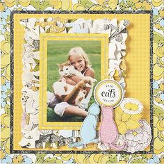 Anna Griffins Gallery: The Fifi & Fido Collection Anna Griffin Inc, Anna Griffin Cards, Scrapbook Journal, Scrapbook Cards, Smash Book Pages, Kids Pages, Image Layout, Yellow Cat, I Love Cats