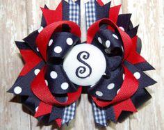 Uniform Bow Monogram Bow School Bow Custom by BowsalaMode