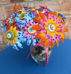 Lisa Frank rainbow flowers centerpiece ideas.