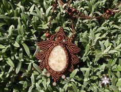 Makramé napkó csomózott nyaklánc ékszer barna rózsakvarc ásvány fémmentes