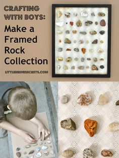 crafting with boys: make a framed rock collection   Little Birdie Secrets  what a fun summer craft activity to do with my boys!