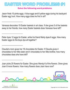 Worksheets: Easter Word Problems #1  Great for First Grade and Free.
