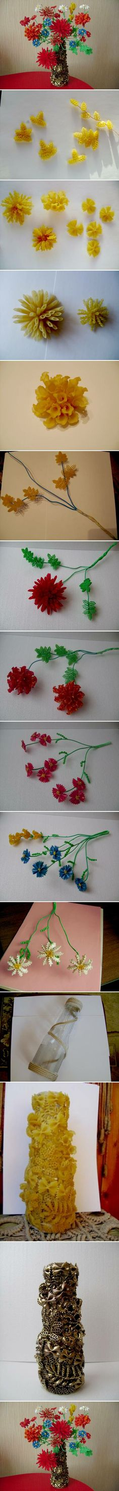 DIY Pasta Flowers and Vase DIY Projects - I like not so much the flowers but the. Pasta Crafts, Craft Projects, Crafts For Kids, Flower Crafts, Diy Flowers, Flower Vases, Flower Diy, Beaded Flowers, Pasta Art