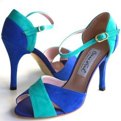 www.felinashoes.com Argentine Tango Shoes from Comme il Faut shoes. Blue and turquoise suede leather stilettos. Sizes 4 (34), Size 5 (35), Size 6 (36), Size 7 (37), Size 8 (38), Size 9 (39), Size 10 (40), Size 11 (41)