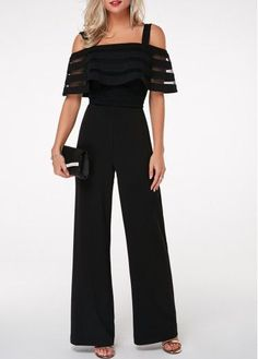 Cheap Black Jumpsuit Cold Shoulder Jumpsuit Strappy Jumpsuit Overlay Embellished Jumpsuit for Women – L Black Jumpsuit Cold Shoulder Jumps. Jumpsuit With Sleeves, Black Jumpsuit, Mode Outfits, Fashion Outfits, Fashion Clothes, Clothes Women, Women's Fashion, Travel Fashion, Romper Outfit