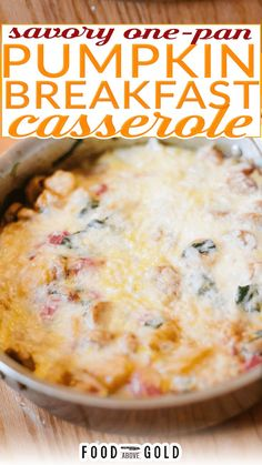 Delicious pumpkin breakfast casserole is a morning dream! Made in one pan and full of protein and veggies, it's the best way to start an autumn morning! If you're tired of fall breakfast dishes that are super sweet and loaded with condensed milk, cinnamon sugar, and pumpkin pie spice, then you found the perfect recipe. This pumpkin breakfast casserole is a magnificent escape from overnight pumpkin french toast and pumpkin puree! | @foodabovegold #pumpkincasserole #fallbreakfast #fallmealplanning Pumpkin Breakfast, Fall Breakfast, Breakfast Dishes, Breakfast Casserole, Pumpkin Casserole, Casserole Recipes, Cooking Bacon, Fun Cooking, Pumpkin Pie Spice