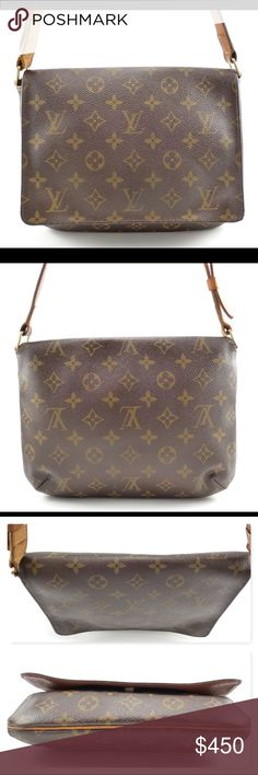 Louis Vuitton Authentic Musette Tango Monogram Bag Authentic Louis Vuitton Musette Tango Monogram Canvas Shoulder Bag. Coated canvas with brass hardware & natural leather accents. Slim shoulder strap w/ suede interior features a single slip pocket. Perfect for your everyday essentials. In very good condition with some exterior wear. The interior shows light use with some staining. The leather strap has darkened and shows some wear. Guaranteed Authentic! Date Code: SD0062 (USA 2002) Please…