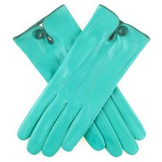 Ladies' Turquoise Leather Gloves with Silk Lining and Button Detail