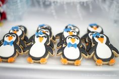 Adorable penguin cookies at a baby shower!    See more party ideas at CatchMyParty.com!  #partyideas #babyshower