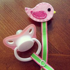 Lipstick Pink Bird Felt Pacifier Clip Baby by weeandmestyle, $8.00