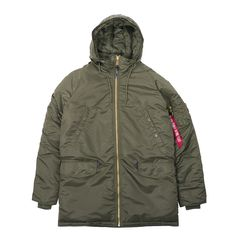 Lovely reworking of the classic Alpha Industries cold weather N3-B Parka. Features original flight nylon construction, adjustable snorkle hood, adjustable drawstring waist, front zip closure and multiple pockets.