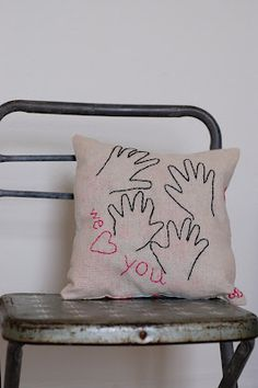 Embroidered Hand Print Pillow