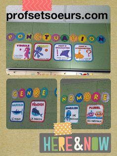 Des affiches pour les murs de la classe. Grammaire moderne. 1$ Classroom Organization, Classroom Decor, Les Accents, Cycle 2, Teachers Corner, Word Walls, French Immersion, French Class, Writing Words