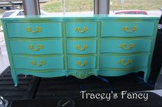 Butter yellow & turquoise French Provincial dresser