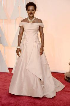 Viola Davis in Zac Posen at the Academy Awards 2015 Viola Davis, Marchesa, Oscar Fashion, High Fashion, Women's Fashion, Red Carpet Ready, Red Carpet Gowns, Celebrity Look, Celebrity Jewelry