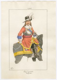 Life Guards, Officer, 1685 by Charles Lyall British Armed Forces, Civil Wars, Louis Xiv, Military Uniforms, Lifeguard, Rifles, Military History, Napoleon, 17th Century