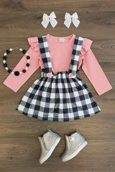 5bc65de135d2 Plaid Suspender Skirt with Blush Pink Top