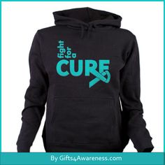 Sport your activism for Ovarian Cancer with Fight For A Cure shirts and gifts featuring a cool style text design with a teal ribbon by www.gifts4awareness.Com.  #ovariancancer #awareness #ovariancancerawareness