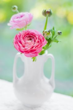 White vase with pink floral