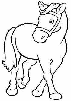 Farm Animal Coloring Pages, Coloring Book Pages, Printable Coloring Pages, Coloring Sheets, Art Drawings For Kids, Drawing For Kids, Animal Drawings, Easy Drawings, Horse Sketch