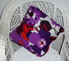 Retro Abstract Purple Floral Cushion / Pillow Cover