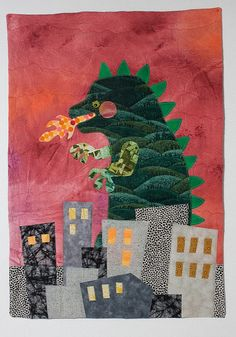 """Quilt: Godzilla"" by Keet Leibowitz, inches x inches Godzilla Birthday Party, Godzilla Party, Patchwork Baby, Happy Hippie, Yarn Stash, Building Art, Fathers Day Crafts, Applique Quilts, Art Auction"