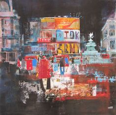 'Night Owls Piccadilly Circus' Nagib Karsan Color Pop, Piccadilly Circus, New Artists, Painting, Art, Seascape, Abstract, Abstract City