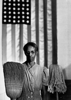 Gordon Parks (artist) American, 1912 - 2006 Washington, D. Government Charwoman (American Gothic), July 1942 gelatin silver print, printed later framed: × × cm × 32 × 1 in.) image: × 81 cm × 31 in.) Corcoran Collection (The Gordon Parks Collection) Gordon Parks, Grant Wood, American Gothic, American Flag, American Pastoral, American Gods, American Life, Black Art, Street Photography