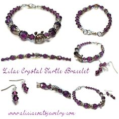 SOLD / Lilac crystal bracelet with turtle and matching earrings.  Custom order. www.aliciacoatsjewelry.com Crystal Bracelets, Lilac, Turtle, Wax, Pendants, Coats, Crystals, Earrings, Leather