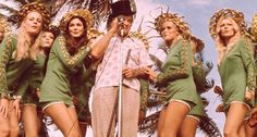 This is why front row center seats were so sought after...Bob Hope and some of Dean Martin's Gold Digger dancers -USO Christmas Tour,  Diego Garcia, central Indian Ocean, 1972
