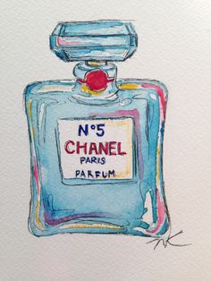 My watercolor pen and ink drawing of a Chanel No 5 bottle perfume Blue