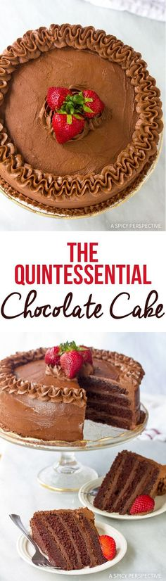 The Quintessential Chocolate Cake Recipe. Ultra rich and moist cake, with a thick layer of chocolate fudge frosting. This is a chocolate-lovers dream come true! via @spicyperspectiv