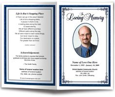 Download A Printable Funeral Program Template For The Service And