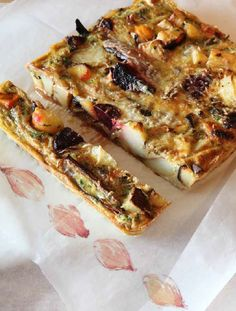 This is a great way to use up odds and ends of fresh veg, and leftovers too. You can use more or less whatever you fancy from the list, though I do think some kind of onion is essential. As the egg is poured straight into the roasting dish full of hot veg, you don't need to fry this frittata at all, but it helps to have a heavy ceramic or cast-iron dish, which retains the heat well. And the eggs should be at room temperature, not cold from the fridge.