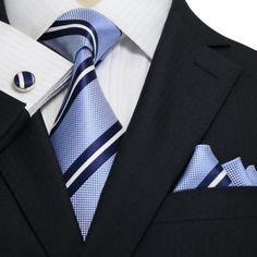 Blue and White Stripe Necktie Set JPM18A44