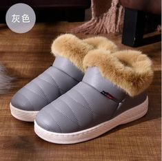 54d6455c81 Women Cotton Boots Waterproof Winter Warm Fur Ankle Boots Couple Thick  Soled Warm Shoes Woman Flats Botas Mujer Zapatos