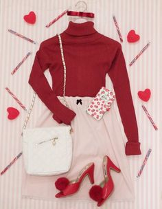 ADVERTISEMENT Valentines Day Outfit Flying around With Wings Is Nothing but A Flying Valentines Day outfit Valentines is just a very special day for women. Valentine Outfits For Women, Valentines Day Dresses, Kawaii Fashion, Cute Fashion, Fashion Outfits, Dress Fashion, Girl Fashion, Womens Fashion, Aesthetic Fashion