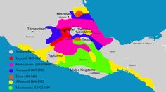 Mapa mostrando a expansão do território conquistado pela Tríplice Aliança Asteca. As áreas conquistadas por Moctezuma I estão pintadas de pink