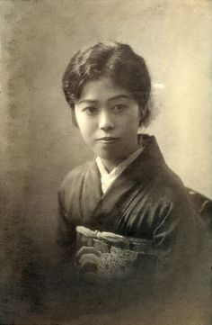 +~+~ Antique Photograph ~+~+   Seated woman in a kimono. Pre WWII