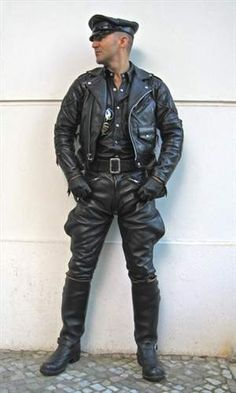 Padded Columbia jacket matched up with Racer motor pants/breeches, together with Wesco Boss boots.