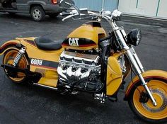 STRANGE CUSTOM CARS AND MOTORCYCLES - CATERPILLAR YELLOW V-8