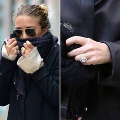 Mary-Kate Olsen's engagement ring is a 1953 vintage Cartier engagement ring featuring a four carat diamond surrounded by sixteen sapphires. Olivoer Sarkozy purchased the ring at Sotherbys Auction Engagement Ring Pictures, Celebrity Engagement Rings, Vintage Engagement Rings, Wedding Engagement, Wedding Rings, Royal Engagement, Engagement Celebration, Nicole Richie, Jessica Biel